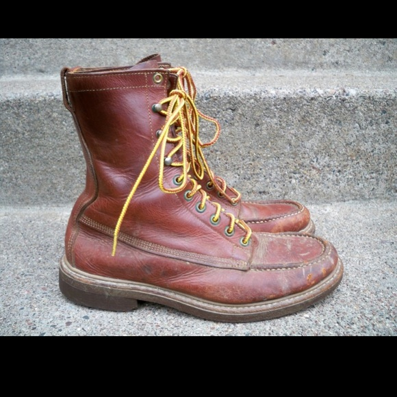 d068bbbabe0 Men Leather Working Hunting Work Boots Vintage 6.5